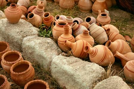 Pottery. Handmade Ceramic Clay Jugs Closeup, Heap Of Jars. High Resolution Reklamní fotografie