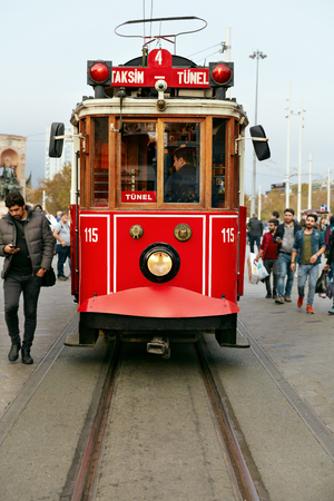 ISTANBUL, TURKEY, OCTOBER 14, 2018. Old Red Tram At City Street, Electric Transport Taksim-Tunel