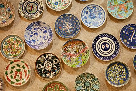 AVANOS, CAPPADOCIA, TURKEY, OCTOBER 17, 2018. Turkish Traditional Ceramic Plates At Souvenir Store, Pottery Workshop