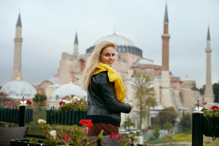 Travel. Beautiful Woman With Mosque On Background, Female Near Muslim Church Traveling To Turkey. High Resolution Stock fotó