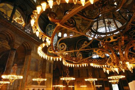 ISTANBUL, TURKEY, OCTOBER 14, 2018. Light Chandelier In Hagia Sophia Cathedral Interior
