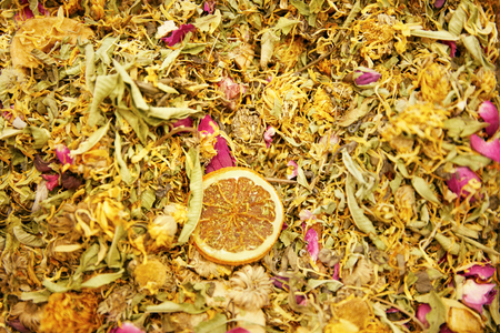 Tea. Dried Flowers, Herbs And Fruit Closeup At Turkish Market. High Resolution Standard-Bild - 116237572
