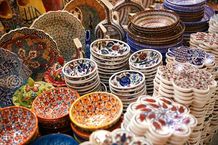 ISTANBUL, TURKEY, OCTOBER 13, 2018. Traditional Turkish Ceramic Plates At Eastern Market Closeup