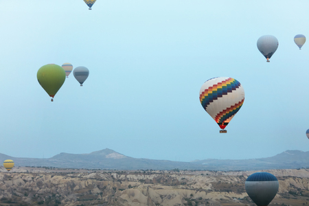 Ballooning In Nature. Hot Air Balloons Flying Above Valley, Travel In Colorful Balloons At Cappadocia. High Resolution Stock Photo