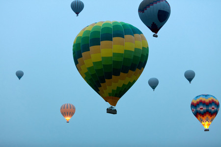 Travel. Colorful Hot Air Balloons Flying In Blue Sky In Early Morning. Ballooning. High Resolution Standard-Bild - 115069435