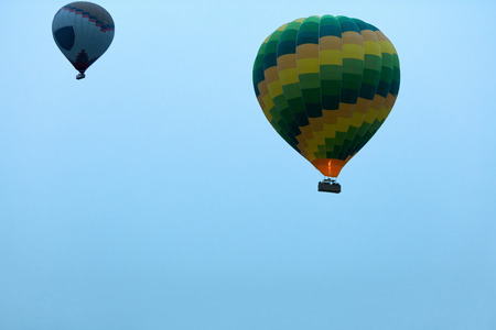 Travel. Colorful Hot Air Balloons Flying In Blue Sky In Early Morning. Ballooning. High Resolution Standard-Bild - 115069440