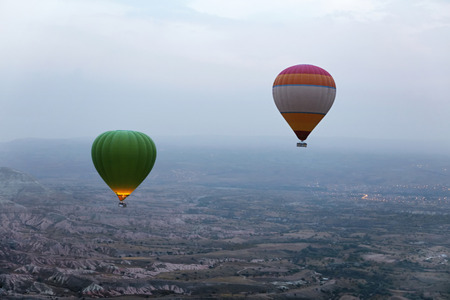 Ballooning In Nature. Hot Air Balloons Flying Above Valley, Travel In Colorful Balloons At Cappadocia. High Resolution Standard-Bild - 115069687