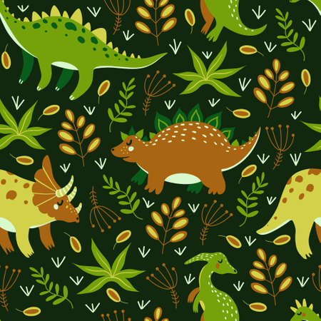 Cute cartoon dinosaurs seamless vector pattern. Colorful reptiles from the Jurassic period walk through the rainforest and eat grass. Hand-drawn doodle. Flat style. Children's print for design and textiles.