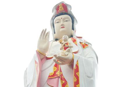 mercy: The large beautiful Goddess of Mercy guan yin on white background isolated, Wat Sman Rattanaram, Thailand. Stock Photo