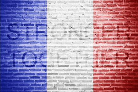 stronger: The France flag over on brick background. with message STRONGER TOGETHER.