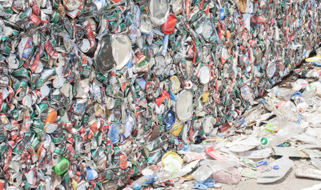 crushed aluminum cans: SARABURI, THAILAND - 16 MARCH 2016 : Baled aluminum cans at an undisclosed recycling facility,The cans will be shipped to an aluminum foundry Stock Photo