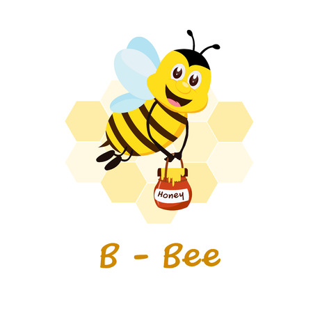 Isolated animal alphabet for the kids, B for Bee