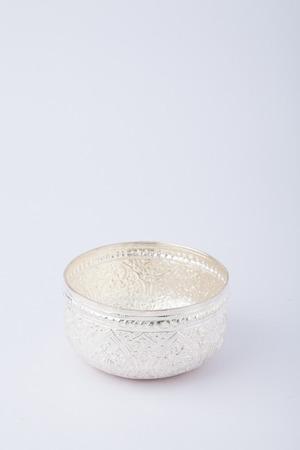 lacquer ware: thai silver bowl Stock Photo
