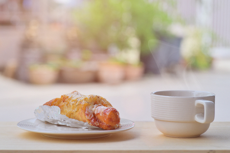 breackfast: Breakfast pie with black coffee in morning Stock Photo