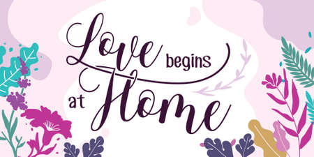 Family Home Quotes Love begins at Home vector ready print in Natural Background Frame for Wall art Interior, wall decor, Banner, Sticker, Label, Greeting card, Tag