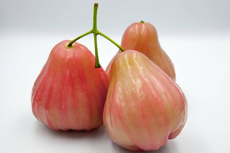 Three rose apple on a white background.