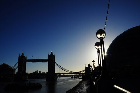 Tower Bridge silhouette Stock Photo
