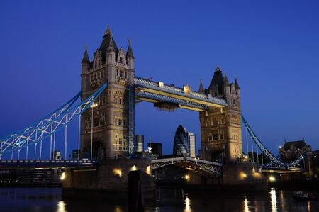 Tower Bridge opening at night Stock Photo - 9112321