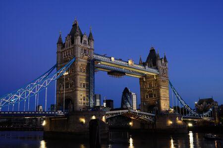 Tower Bridge opening at night Stock Photo