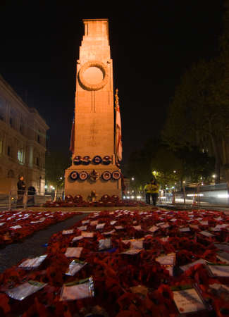 The Cenotaph in Whitehall, London on the evening after the Remembrance Sunday services showing wreaths.