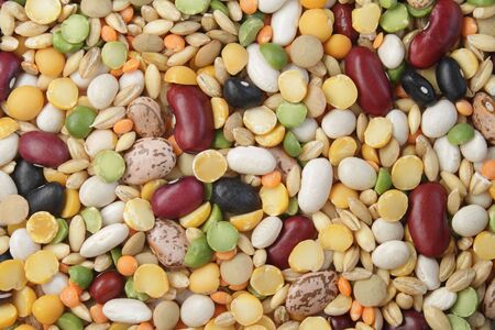 Close-up photo of various beans and cereals Фото со стока