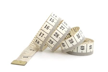 cintas metricas: Foto de medir la cinta aislado sobre fondo blanco