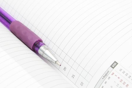 A lined diary with calendar and a pen Stock Photo - 7194688