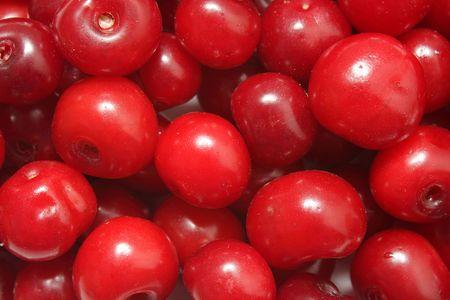 Ripe red cherries closeup photo good as background Stock Photo