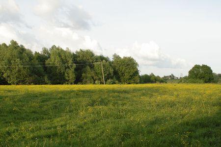 芝生のフィールドと夜と空雲と農村景観
