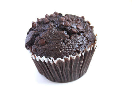 A chocolate muffin isolated on white background Stock Photo