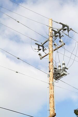 telegraphs: Telegraph pole over sky with clouds