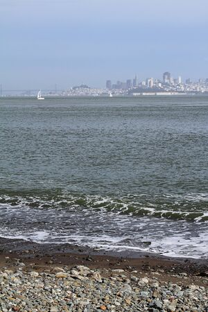 View on San Francisco with a beach on foreground Stock Photo