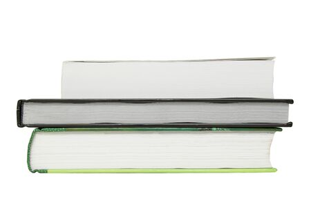 Stack of three books isolated on white background