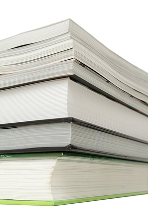 Stack of several books over white background