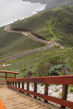Observation point and a road by the ocean