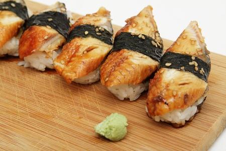 Group of broiled eel (unagi) sushi Stock Photo