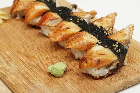 Group of broiled eel (unagi) sushi Stock Photo