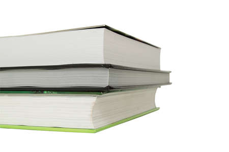 Stack of three books over white background