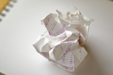 Crumpled ball of white paper Standard-Bild