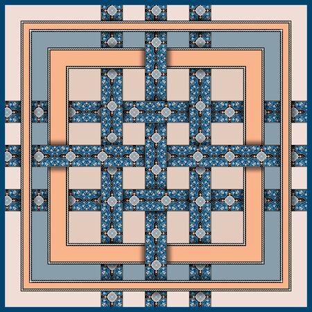 Ethnic geometric motif scarf design. For textile printing.
