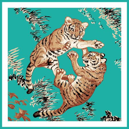 exotic pattern with abstract tiger of animals. exotic pattern with abstract tiger. For textile printing. 版權商用圖片