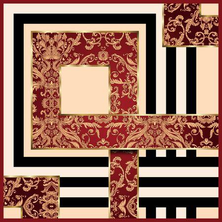Vintage background ornate baroque geometric silk desing. For textile printing.
