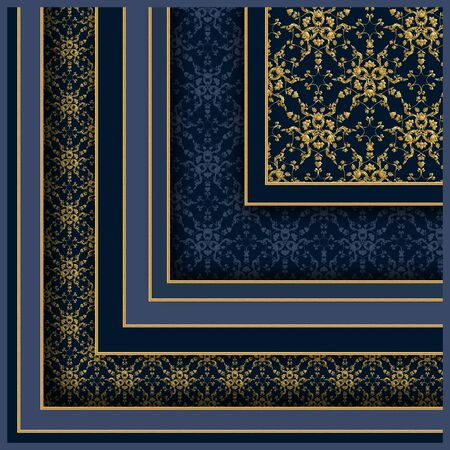 Abstract frame geometric lines for silk scarf design. For textile printing.
