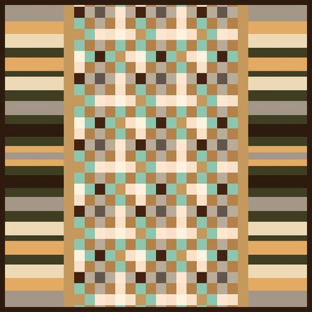 Abstract scarf pattern design with geometric. For textile printing.