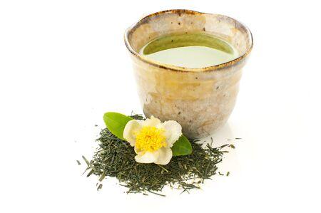 sencha: japanese green tea on a white background