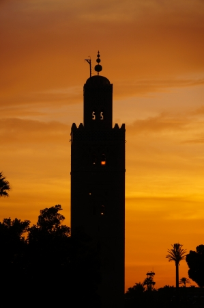 The Koutoubia mosque in sunset, Marrakech,North Africa photo