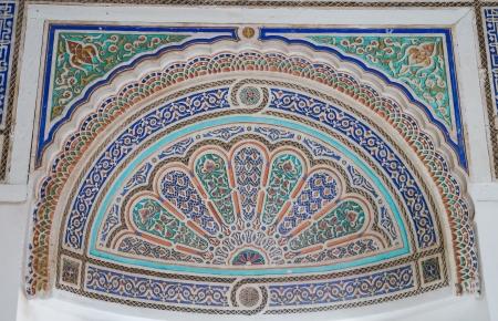 Old ornament detail in  Palais de la Bahia  Bahia Palace , Marrakech,Morocco