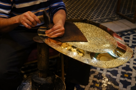 traditional crafts (plate) in the medina of Fez,Morocco photo