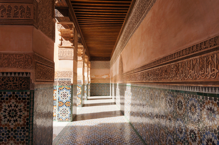 Architectural details of Courtyard of Ali Ben Youssef Madrasa, Marrakech, Morocco