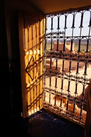 Window of Taourirt kasbah in Ouarzazate, Morocco,Northern Africa photo